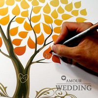 Free shipping Fingerprint Painting Fashion Fingerprint Guest Signature Book Wedding Supplies