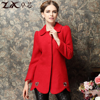Winter medium-long 2013 woolen overcoat thickening outerwear bridal wear women's embroidered upperwear
