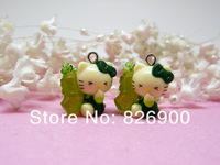 10 pcs Hello Kitty with Green Radish Pendant Charm Lovely Fashion Gifts DIY Accessories ALK690 Wholesale