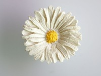 White Chrysanthemum Simple Style Resin Cabinet Cupboard Drawer Knob Door Pulls Handle MBS040-6