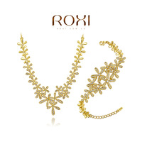 ,ROXI brand fashion gold plated jewelry set,necklace and bracelet,two pieces of jewelry,18K gold and rose gold jewelry