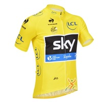 Wholesale/retail new 2013 men's yellow SKY team leisure cycling jersey cycling wear short sleeve Bicycle clothing free shipping