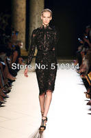Free shipping Elie saab high neckling long sleeves knee length lace sheath sexy long dress prom selena gomez dress