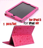1pcs/lot free shipping post, lovely Stand & Case for ipad5,  cute Leather Case Cover for ipad air, lovely little evil girl