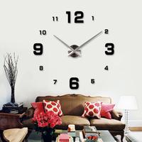 Living Room 3D Art DIY Big Digital Wall Clock Home Decor Modern  Designer Wall Stickers Clocks Watches Unique Gifts Freeshipping