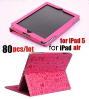 80pcs/lot free shipping dhl, lovely Stand & Case for ipad5,  cute Leather Case Cover for ipad air, lovely little evil girl