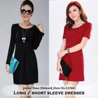 New 2014 spring and summer ladies work plus size long sleeve Sheath knee-length dress burgundy / black / pink