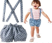 5pcs 100% cotton baby girl's shortsleeve fashion suit 2014 new summer straps stripe 2-piece set love-heart overalls baby clothes