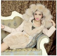 2014 Top Fashion Special Offer Long Belt Full Women Coat Women's Luxury Large Faux Collar Slim Medium-long Cotton-padded Jacket