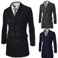 2014 Medium Style Fur Collar Splice Double-breasted Black Wool Woolen Lapel Casual COAT OUTWEAR, Men's Overcoat Winter Mens Coat