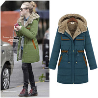 2013 winter fashion with a hood fur collar medium-long plus velvet thickening wadded jacket cotton-padded jacket outerwear