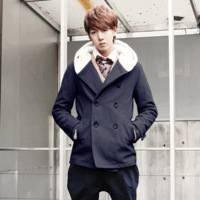 Thickening thermal slim top british style wool liner wool coat outerwear male