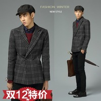 Quality clothing outerwear male fashion slim plaid vintage male short trench design woolen outerwear