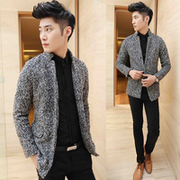 Autumn and winter men's clothing grey fashion trend of the male slim woolen trench outerwear male
