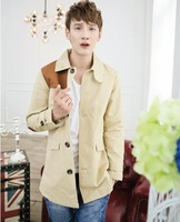 2013 quality male trench slim medium-long double breasted fashion men's autumn outerwear