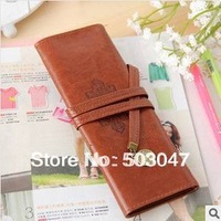 5x Retro pencil pouch pen bag twilight leather pencilcase Fashion Simple