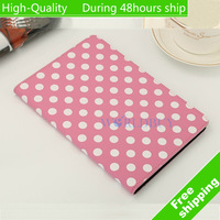 High Quality Polka Dot Filp Folio Leather Stand Cover Case For Apple iPad Mini 2 Retina Free Shipping UPS DHL CPAM HKPAM HT-13