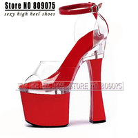 7 inch sexy clubbing shoes open toe thick heel sandals platform women's high-heeled shoes 18cm spool spool heel clear sandals