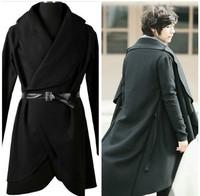 2014 Rare New Men's Fashion Lapel PU Leather Belt Design Casual Stylish Cape Black Long Trench Coat Autumn/Winter Free shipping