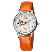 EYKI Brand Skeleton Automatic Self-Wind Watch for Women Ladies Fashion Leather Strap Wrist Watches 2013 New Hours EFL8543L