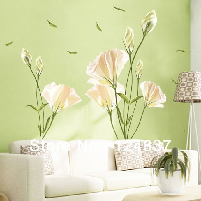 New Arrival !140*120 High Quality Lily Flower Wall stickers Romatic TV Brackground Removable Vinyl Stickers For Home Decoration(China (Mainland))