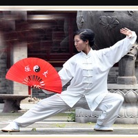 "Free Shipping New 13.8"" Chinese Bamboo Frame Tai Chi Fan Martial Arts Kung Fu Fan Red hot sale"