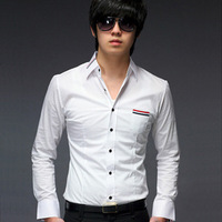 2014 Free shipping new Special hot new men's casual shirt long sleeve shirts Black/White M-XXL ZL144