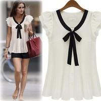 S-XL women bowknot chiffon blouse lady fashion plus loose size shirt short-sleeve summer ribbon shirts sweety blouse top