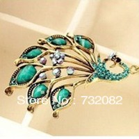 New Fashion Shiny Faux Turquoise Stone Peacock pendant Necklace Blue