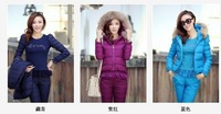 Winter women's 2013 casual down cotton-padded jacket set fashion sports thickening slim three piece set female