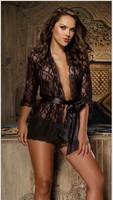 2014Large yard NewArrival Hot Black Sexy Lingerie Lady's diaphanous pajama lace skirt Sleepwear Free Shipping Size M 2XL 3XL 4XL