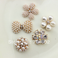 20pcs/lot Free Shipping 5 design DIY hair accessory Bow Flowers Pearl Buttons alloy rhinestone button bt05