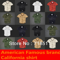new 2013 fashion brand casual California shirt men's short sleeve slim fit Oxfroid Casual Shirts