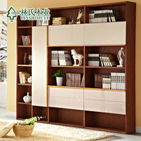 Log storage bookcase belt door glove grid cabinet furniture ag011 combination bookcase