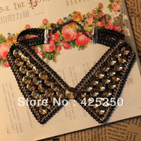 Hot ! European and American Popular Black Cool Exaggerated Personality Inlaid Rhinestones Necklace Fake Collar F5210