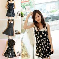 New Korean Women's Slim Doll Collar Sleeveless Cute One Piece Vest Mini Dress