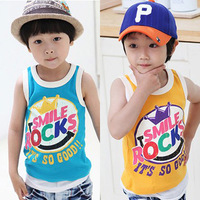 Retail 1pc best sale summer baby boys girls fashion letters printed sleeveless T-shirt children casual cotton t-sthirt TZ1737