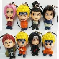 Wholesale/Retail 2013 Free Shipping Japan Anime Naruto Uzumaki Naruto Sasuke Kakashi PVC 8pcs Mini Toy/Gift Keychain Figure