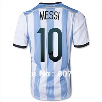 MESSI #10 Argentina Home Soccer Shirt 2014,Player Version Thailand Quality Argentina Soccer Jersey+Free Shipping