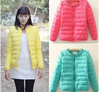 Free Shipping 2014 Brand New Spring evening Chih squeezing down cotton candy colored women padded jacket coat thicker version