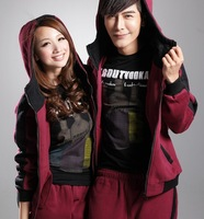 Fashion Couple Sports Sets 100% Cotton Winter Warm Lovers Clothing Four Colors Active Sets For Man Women's Vest Sets