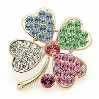 !Free Shipping!Garment Accessories Clear Rhinestone Four Leaf Clover Brooch Pin Gold Plating