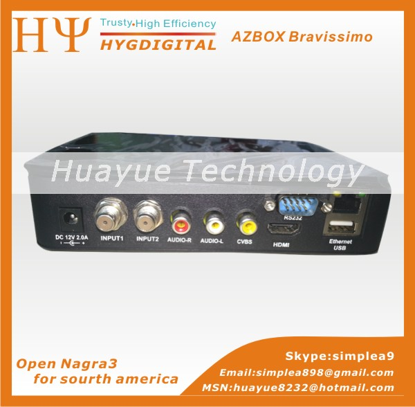 Free ship Azbox Bravissimo Satellite Receiver Twin Tuner Support Nagra3 Decoder Az Box Bravissimo HD Linux OS(China (Mainland))