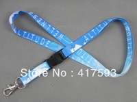 free shipping custom blue neck lanyard with white logo imprint for promotion business school events neck lanyard strap vendor