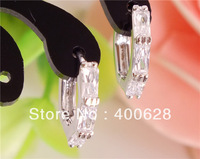 wholesale 3pairs sterling silver CLEAR Cubic Zirconia beautiful TRENDY hoop earrings