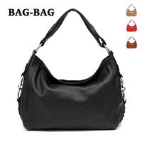 Women HOBO Large capacity Genuine Leather handbag Fashion Real Cowhide/skin shoulder bag girl/ladies black brown wholesale B302