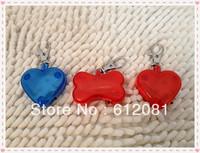 Pet saftey tag LED pet name id tag custom dog tag cute bone heart shape Red retail