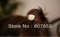 Free Shipping 5pcs Girls Sweet White Pearl Crystal Rhinestone Flower Heart Ponytail Holder Hair Rope Band