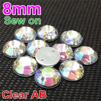 2000Pcs of 8mm Sparkly Faceted Flatop Round Sew on Acrylic Flatback with 2 Holes in White AB for Accessory and Jewelry Making