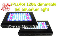 Free shipping lot/2pcs  led aquarium light  dimmable 120w(55x3w) for Reef coral  Blue white 410nm bridglux in Stock